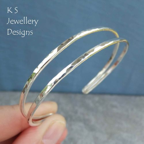 Dappled Texture Double Wire Sterling Silver Cuff Bangle