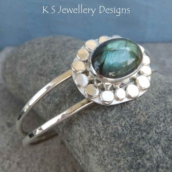 Labradorite Pebble Framed Sterling Silver Cuff Bangle