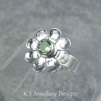 * BALANCE FOR CUSTOM ORDER - Peridot Daisy Flower Sterling Silver Wide Band Ring