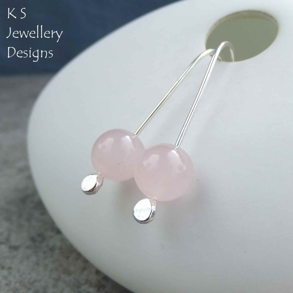 Rose Quartz Sterling Silver Drop Earrings