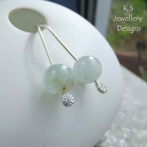 Natural Aquamarine Sterling Silver Drop Earrings