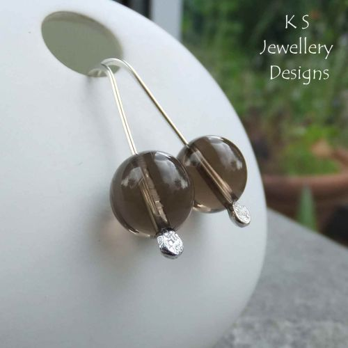 Smoky Quartz Sterling Silver Drop Earrings