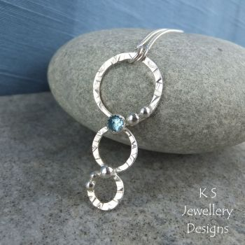 Swiss Blue Topaz Sterling Silver Twisted Wire Pendant