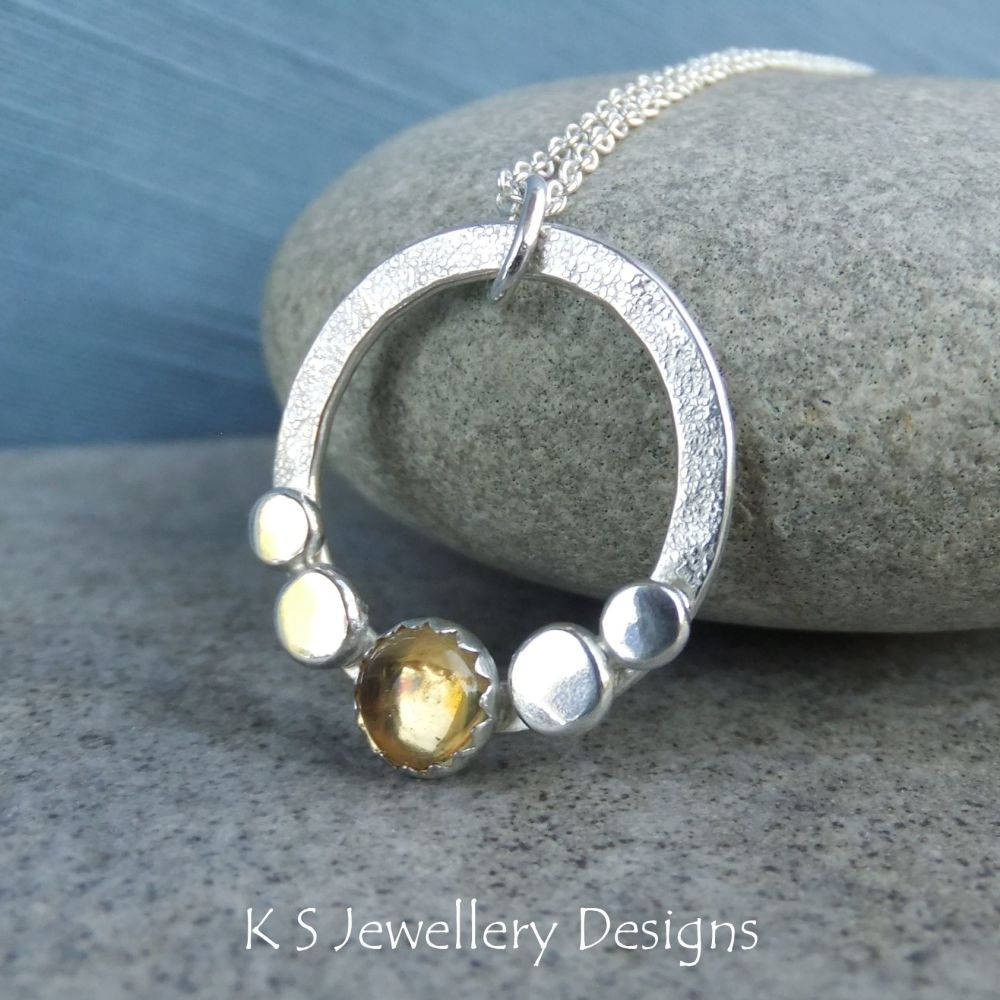 Citrine Pebble Adorned Sterling Silver Circle Pendant