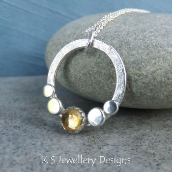 Citrine Pebble Adorned Sterling Silver Circle Pendant