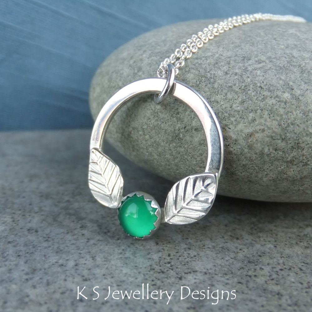 Green Agate Leaf Adorned Sterling Silver Circle Pendant