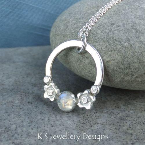 Rainbow Moonstone Flower Adorned Sterling Silver Circle Pendant