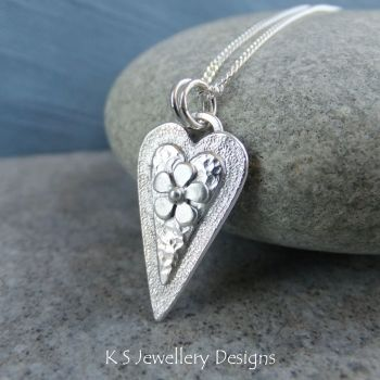 Layered Hearts (version 8) Sterling Silver Pendant