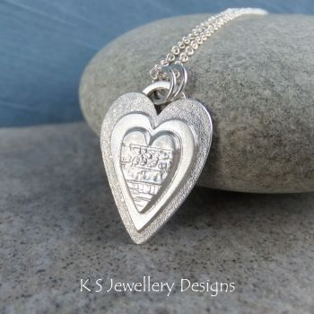 Layered Hearts (version 5) Sterling Silver Pendant