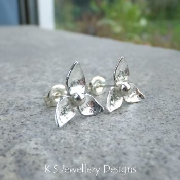 Three Petal Flowers - Sterling Silver Stud Earrings