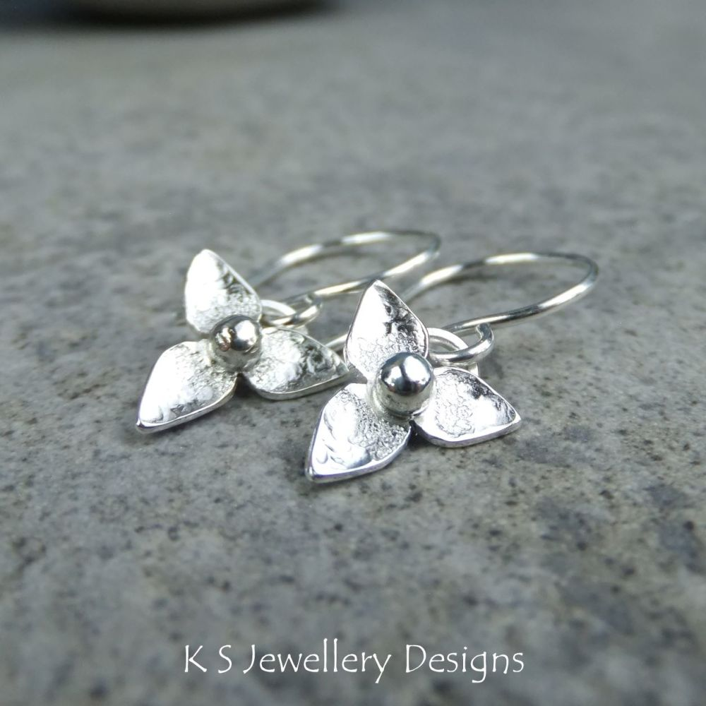 Three Petal Flowers - Sterling Silver Flower Drop Earrings