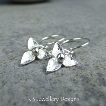 Three Petal Flowers V1 (small) - Sterling Silver Flower Drop Earrings