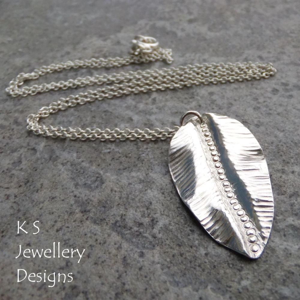 Textured Leaf Fold Formed Sterling Silver Pendant V1