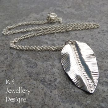 Textured Leaf Fold Formed Sterling Silver Pendant V1