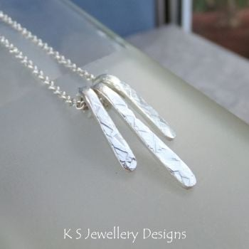 Textured Drops - Sterling Silver Bars Necklace