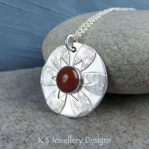Carnelian Flower Sterling Silver Pendant