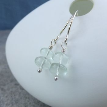 Green Amethyst Double Rondelle Sterling Silver Earrings