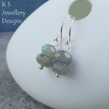 Labradorite Double Rondelle Sterling Silver Earrings
