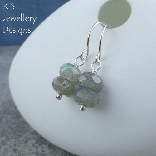Labradorite Double Rondelle Sterling Silver Earrings
