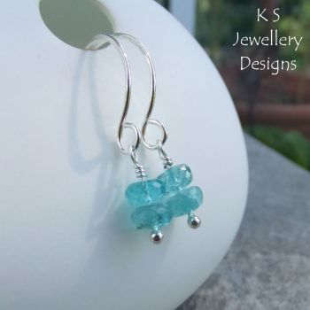 Apatite Double Rondelle Sterling Silver Hoopy Earrings