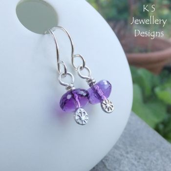 Amethyst Sterling Silver Textured Drop Earrings