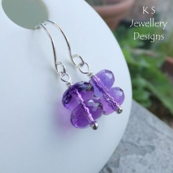 Amethyst Double Rondelle Sterling Silver Earrings