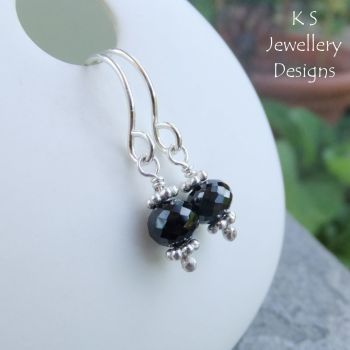 Black Spinel Sterling Silver Earrings