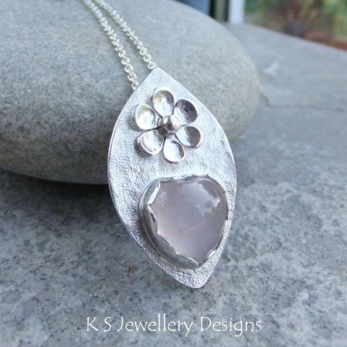 Rose Quartz Heart & Flower Adorned Sterling Silver Drop Pendant