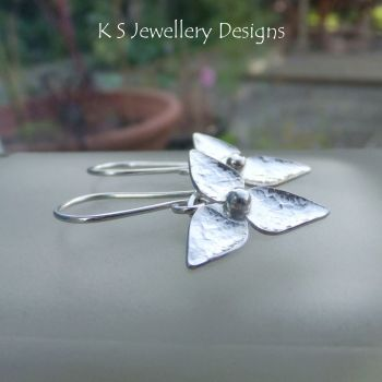 Three Petal Flowers V2 (medium) - Sterling Silver Flower Drop Earrings