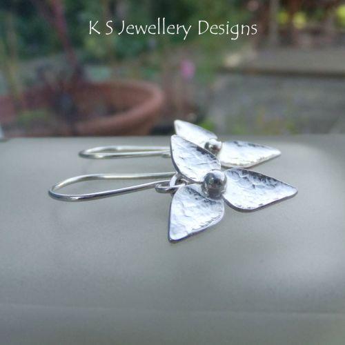 Three Petal Flowers V2 - Sterling Silver Flower Drop Earrings