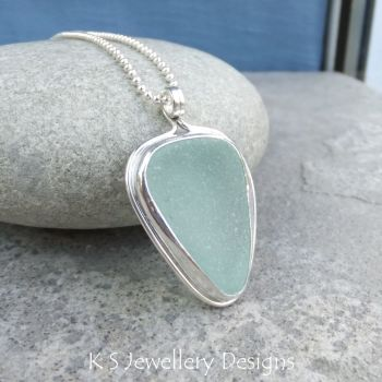 Aqua Blue Sea Glass Sterling Silver Pendant