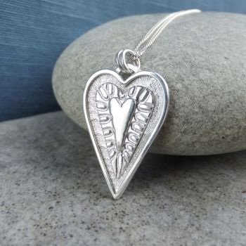 Layered Hearts (version 9) Sterling Silver Pendant