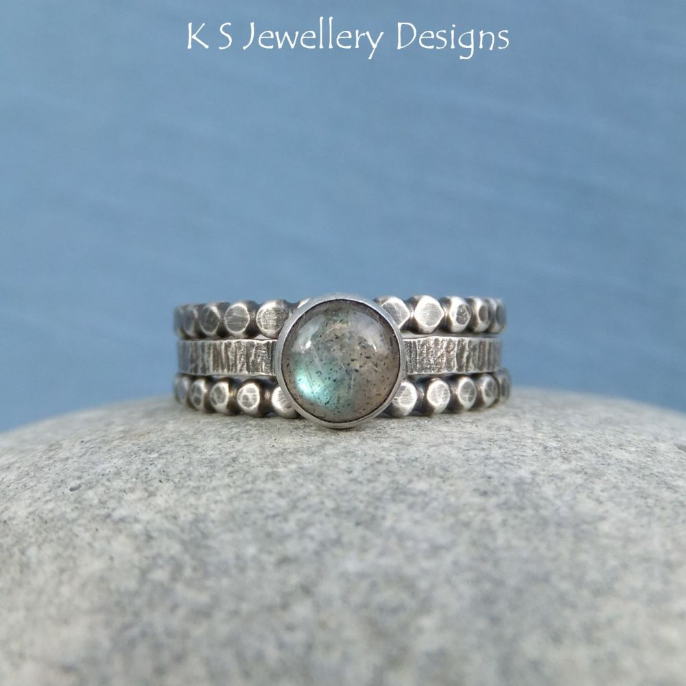 * Commission for Emma - Labradorite Sterling & Fine Silver Stacking Ring Tr