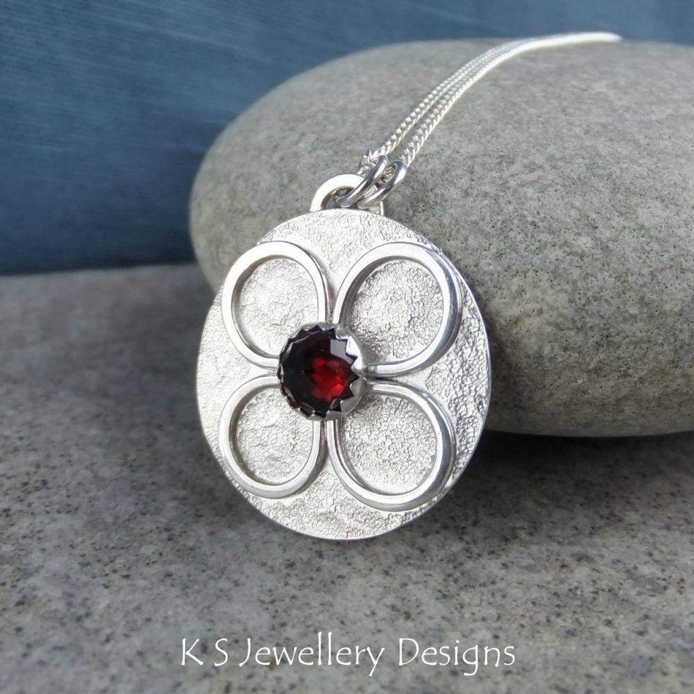 Garnet Four Petal Flower Disc Sterling Silver Pendant