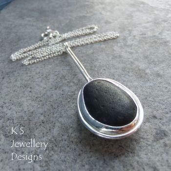 Black Seashore Pebble Sterling Silver Pendant