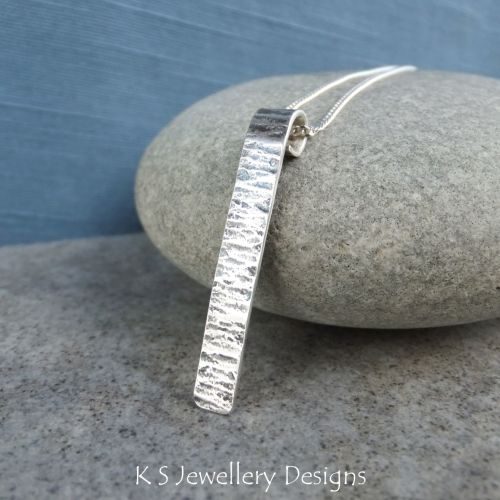 Bark Textured Sterling Silver Bar Pendant (oxidised finish)