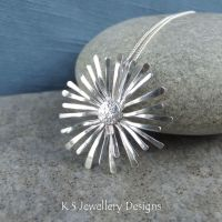 Aster - Sterling Silver Wire Flower Pendant