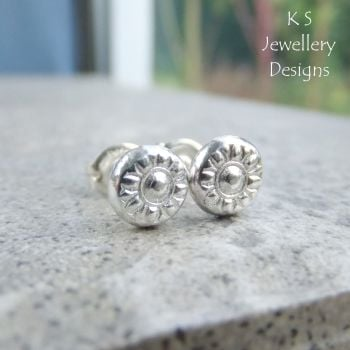 Flower Textured Pebbles Stud Earrings #2 - Sterling Silver Studs