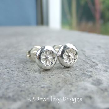 Flower Textured Pebbles Stud Earrings #5 - Sterling Silver Studs