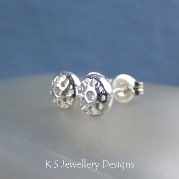 Flower Textured Pebbles Stud Earrings #8 - Sterling Silver Studs