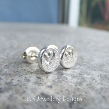 Heart Textured Pebble Studs #2 - Sterling Silver Stud Earrings