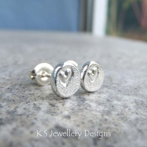 Heart Textured Pebble Studs #2 - Sterling Silver Stud Earrings