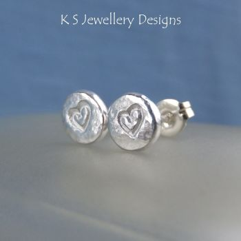 Heart Textured Pebble Studs #3 - Sterling Silver Stud Earrings