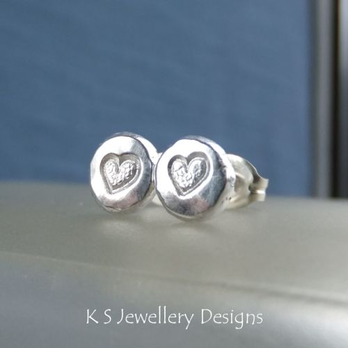 Heart Textured Pebble Studs #4 - Sterling Silver Stud Earrings