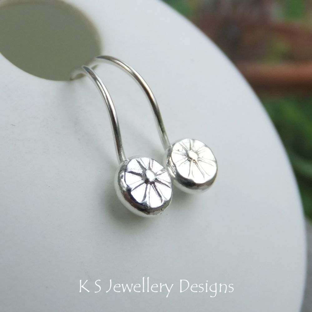 Flower Textured Pebbles Earrings #2 - Sterling Silver Little Hoops
