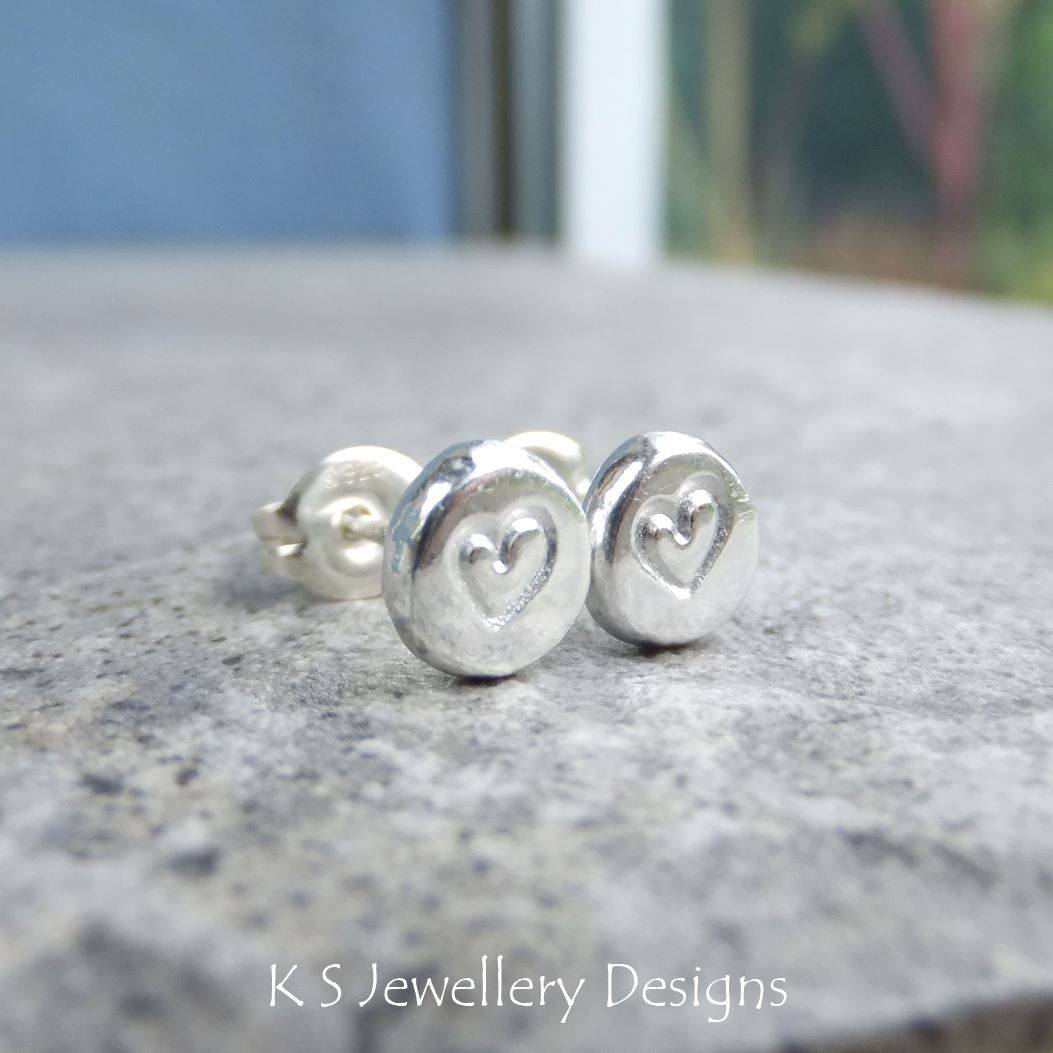 Heart Textured Pebble Studs #5 - Sterling Silver Stud Earrings