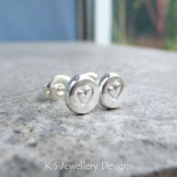 Heart Textured Pebble Studs #5 - Sterling Silver Stud Earrings