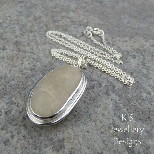 White Seahore Pebble Sterling Silver Pendant