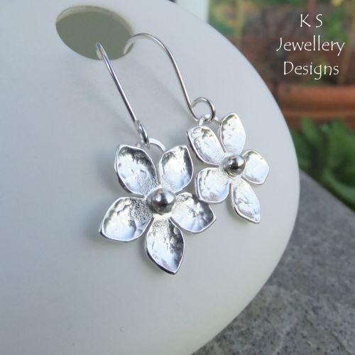 Five Petal Flowers - Sterling Silver Flower Drop Earrings
