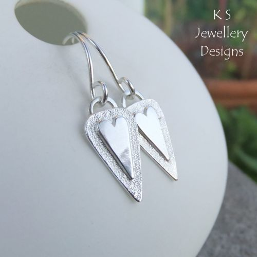 Heart Triangle Drop Sterling Silver Earrings v2